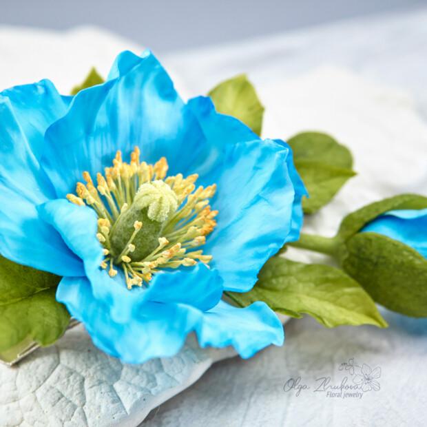 Himalayan blue poppy hair clip • 2020
